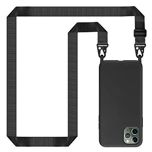 Genrics Funda con Cuerda para iPhone 11 Pro MAX, Carcasa de Silicona Líquida, Case con Correa Colgante Ajustable Collar Correa de Cuello Cadena Cordón, Negro