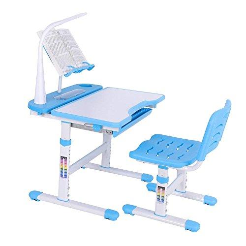 GOTOTOP Ergonomische Kinder Tisch Stuhl Kippen Schreibtisch Oben Höhenverstellbare Kinder Schreibtisch Stuhl-Set mit LED-Lampe und Bookstand für Junior Girls Boys