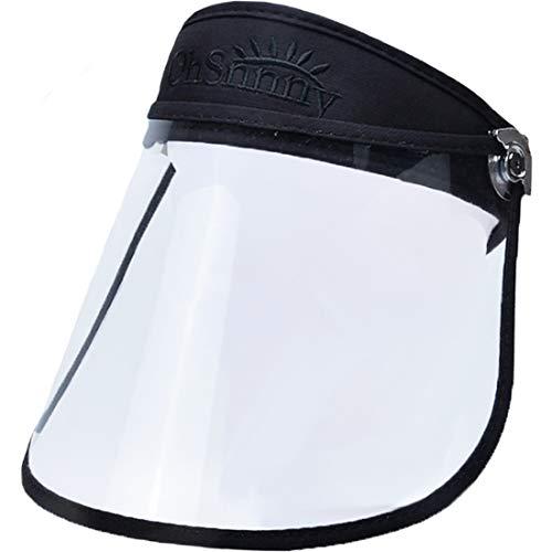 T WILKER Sun Visor Cap for Men Women Kids Adjustable Waterproof Fogproof Windproof for Rain Day Oil-Splash Proof for Cooking Multipurpose HD Transparent UV Protection Sun Hat (Black)