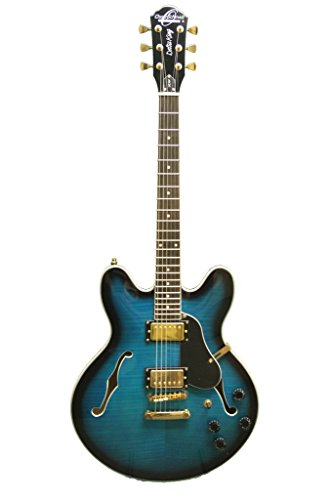 Oscar Schmidt OE30F Double Cut 6 Strings Classic Semi Hollow Body Electric Guitar - Flame Blue Burst