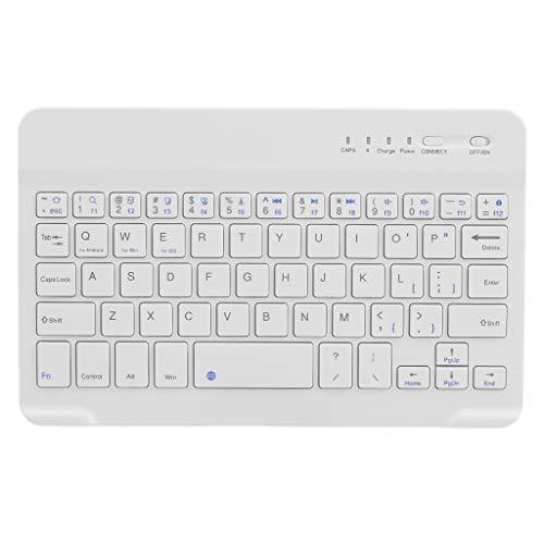 Teclado Bluetooth inalámbrico Mini 7 Pulgadas para Tableta portátil Smartphone Teclado Bluetooth (Color : White)