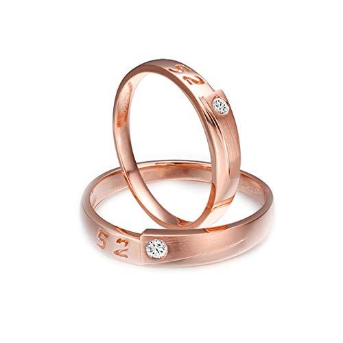 Daesar 18K Rose Gold Rings Engagement for Women and Men Promise Rings Couples Set Engraved 52 0.05ct Wedding Band Diamond Rose Gold Ring Women Size N 1/2 & Men Size S 1/2