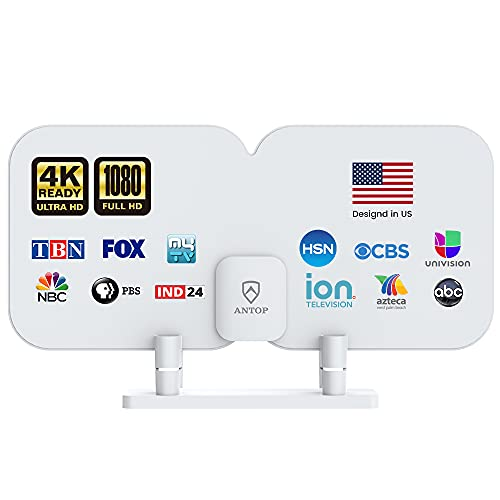 TV Antenna - Antop HD Antenna SBS-301 Indoor TV Antenna for TV and FM Reception - 70 Miles Range with TV Signal Booster Amplifier and 4G LTE Filter Digital Antenna