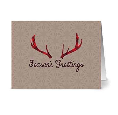 Christmas Cards 36 Pack – Holiday Antlers – Unique Holiday Design – KRAFT ENVELOPES INCLUDED – Blank Greeting Card – Glossy Cover Blank Inside – By Note Card Café…