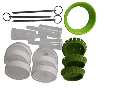 3 Pickle Pusher Small Batch Fermentation Kits. Complete with Airlock and Weight-Replacement. BPA Free. Holds 25X More Than Fermenting Weights. Fits Widemouth Mason Jars Not Included