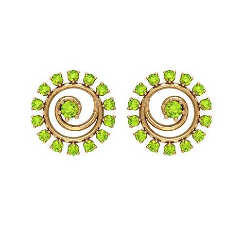Rosec Jewels - Pendientes en espiral con peridoto de 0,38 ct, pendientes de gemas redondas, pendientes de piedra de nacimiento de agosto, pendientes de tuerca (calidad AAA), 10K Oro amarillo, Par