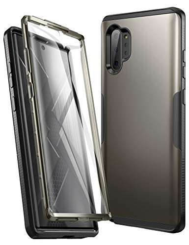 YOUMAKER Case for Samsung Galaxy Note 10 Plus(2019), Built-in Screen Protector with Fingerprint ID Heavy Duty Full Body Shockproof Cover for Galaxy Note 10 Plus 6.8 Inch - Gun Metal/Black