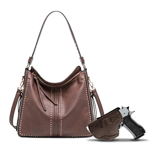 Large Concealed Carry Handbag and Purse For Women Designer Ladies Hobo Bag Faux Leather With Crossbody Strap and Detachable Gun Holster MWC-G1001CF