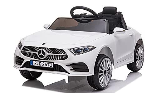 Mondial Toys Auto Macchina Elettrica per Bambini 12V MERCEDES-BENZ CLS 350 AMG con Sedile in Pelle Telecomando 2.4G Porte Apribili Bianco