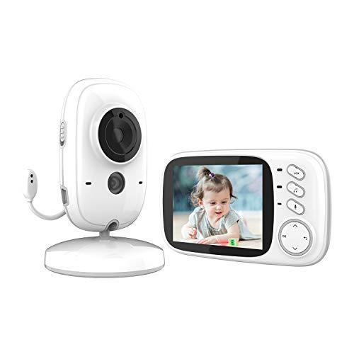 GeekMe drahtlos Video Baby Monitor mit Kamera und Audio, 3,2-Zoll-LCD-Bildschirm, Infrarot-Nachtsicht, Temperaturüberwachung und 2-Wege-Gegensprechanlage, Überwachungskamera für Babys, Haustiere(603)