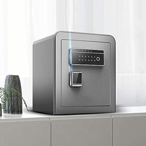 ZSAIMD Huella digital Password Safe cajas fuertes, Inicio de contraseña Box Ant-robo de alarma dual inteligente Caja de seguridad contra incendios completamente de acero de alta capacidad de noche ant