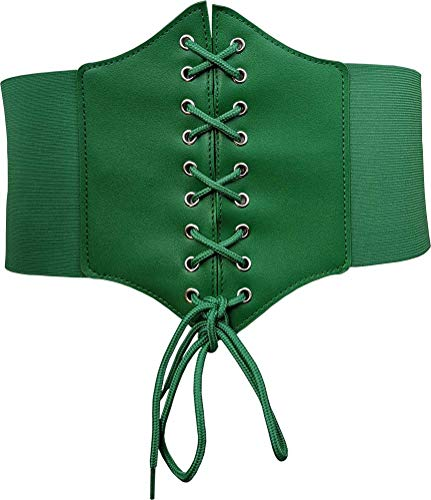 HOEREV Women Girls Elastic Wide Band Elastic Tied Waspie Corset Lace Up Waist Belt Bustiers Corsets,Green With Button,Large