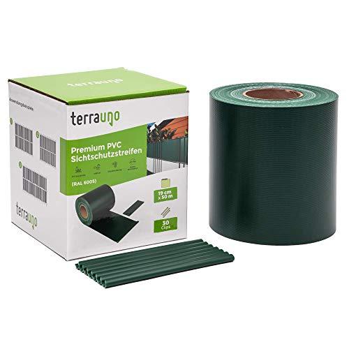 TerraUno - Premium Sichtschutzstreifen für Doppelstabmattenzaun - Gartenzaun I 50mx19cm inkl. 30 Clips I Grün I PVC Sichtschutz für den Zaun