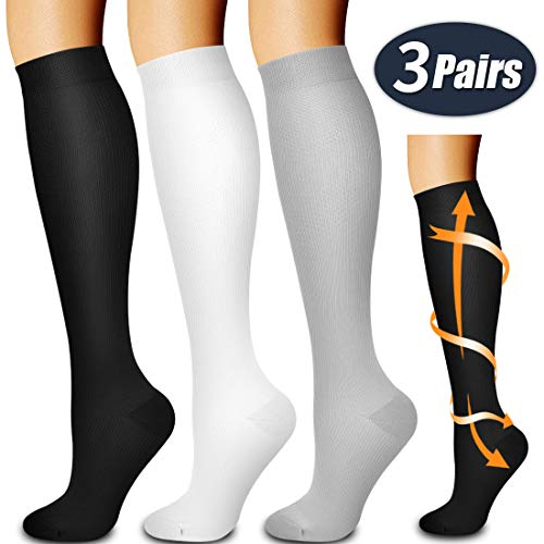 Laite Hebe compression socks,Black+White+Grey,S/M (3 pairs)