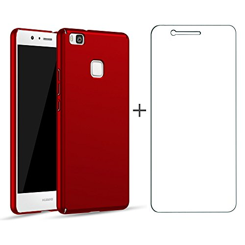 BLUGUL Funda Huawei P9 Lite + Gratuito Protector de Pantalla, Ultra Delgado, Totalmente Protector, Sensación de Seda, Dura Cover para P9 Lite Rojo