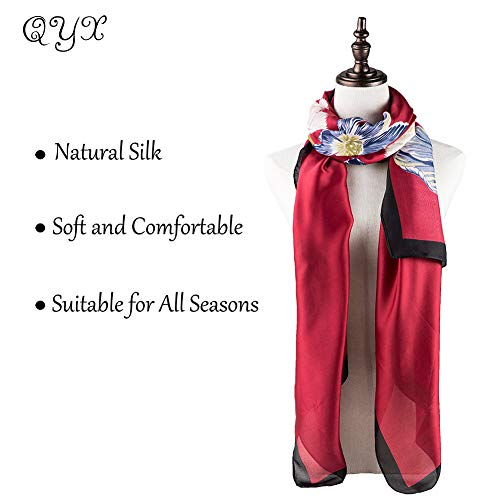 100% Silk Scarf - Women's Fashion Large Sunscreen Shawls Wraps - Lightweight Floral Pattern Satin for Headscarf&Neck ((Flower-Red))