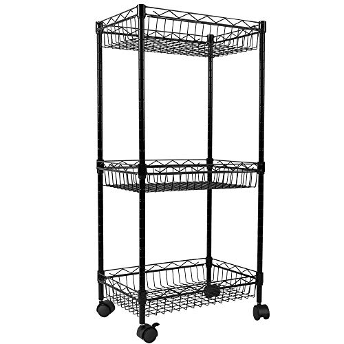 YOHKOH 3-Tier Metal Rolling Utility Cart, Storage Trolley Cart with Mesh Baskets and Lockable Wheels Adjustable Shelves for Bathroom Kitchen Office Black