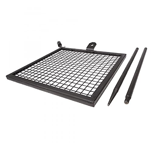 TITAN GREAT OUTDOORS Adjustable Swivel Grill, Steel Mesh Cooking Grate with Spike Pole, Open Fire BBQ Camping Gear