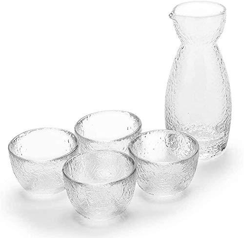 Weinglas Einfachheit 5-pc Kalt Willen Gläser Klar Mit 1 Wake Carafe Flasche 4 Cup Für Kalte Heiße Wösche Shochu Tee Cup MUMUJIN (Color : Default)