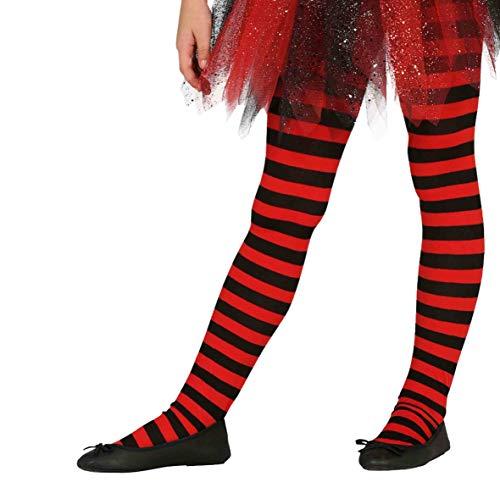 Guirca schwarz rot Netz Strumpfhose für Kinder Zubehör für Party Kostüm Fasching Karneval