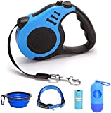 Retractable Dog Leash for Medium - Small Dogs and Cats 16.5FT Tangle Free, Heavy Duty Walking Leash with Anti Slip Handle, Pause and Lock Strong Nylon Tape, Store Dog Leash Retractable(Blue)