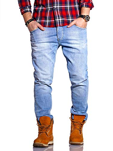 Rello & Reese Herren Jeans Straight Fit Luca Denim Hose Regular Stetch [Hellblau, W32/L30]