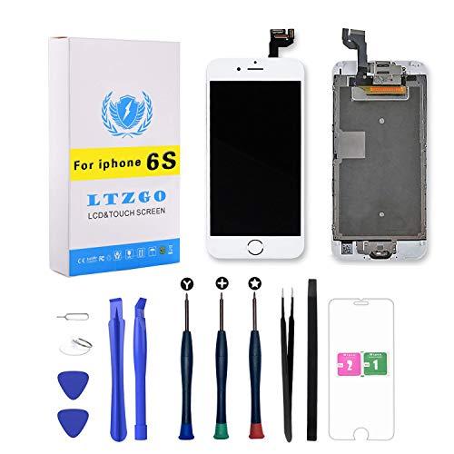 LTZGO LCD Display per iPhone 6S Bianco con Pulsante Home, Fotocamera Frontale, Altoparlante sensore di prossimità, Kit Strumenti e lastra di Vetro temperato Touch Screen
