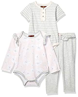 7 For All Mankind Baby Girls Long, Short Sleeve Bodysuit, and Pant Set, Pearl Bloom Print/Heather Grey Stripe, 18M