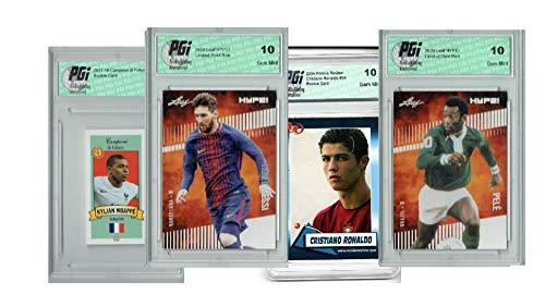 4) Mbappe Pele Lionel Messi Ronaldo 2020 Leaf HYPE Card GOAT! Lot All PGI 10