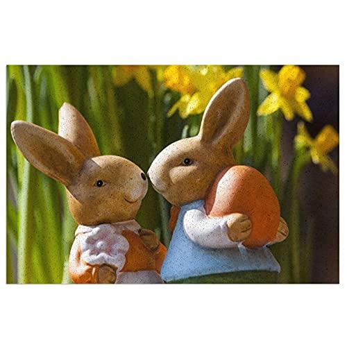 FFLSDR Felpudo, Conejito de Pascua, Figuras de Conejo, estatuillas, Pareja, Zapatos de PVC, Alfombra Antideslizante, Alfombra de Bienvenida, Alfombra de Entrada 40X60CM