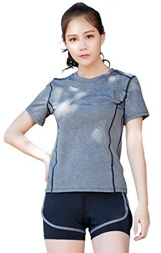 Sportset mit breitem Bund weich Damen Sport Tennis Sportbekleidung Casual T-Shirt und Shorts Gym Yoga Workout, Violett Small