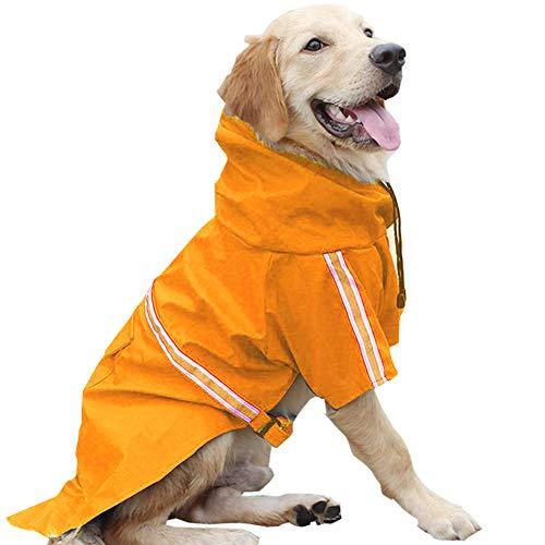 HAPEE Dog Raincoats for Large Dogs with Reflective Strip Hoodie,Rain Poncho Jacket