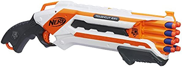 NERF Gun N-Strike Rough Cut 2x4 Blaster - Beat Your Nerf Rival with Awesome Nerf Guns - Great Kids Toys - Includes 8 Elite Nerf Darts - Shoots 75 Feet