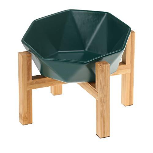 緑ボウルとスタンド付き?傾斜がある 15度 ペット ボウル 台 フードボウル 犬 猫食器 陶器 大容量 ウォーター ボウル 犬猫用 餌入れ 水入れ 水飲みボウル 木製 ペット皿 滑り止め 安定感 取り外し可能 手入れ簡単 ペット用品