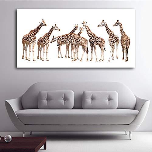 hetingyue Malen große Giraffe Kinderzimmer Wanddekoration Poster und Drucke Wohnzimmer Wohnaccessoire rahmenlose Malerei 60X120CM