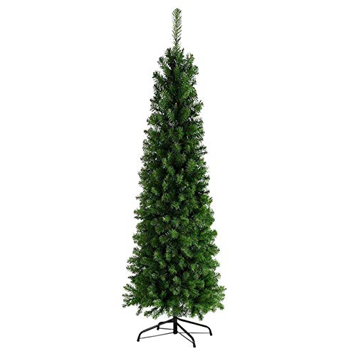 DFKE 7.5ft Hinged Artificial Christmas Tree with Metal Foldable Stand, Easy Assembly, for Outdoor and Indoor Festival Holiday Decoration (Green, 7.5FT)