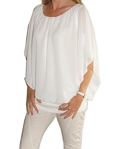 Am Laufsteg Weit geschnittene Chiffon-Bluse, Rundhals-Ausschnitt, Kurzarm, Uni-Größe - passt von Gr. 36 bis 44, Creme