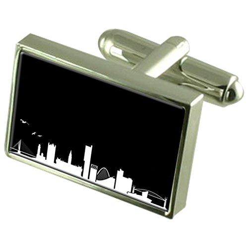 Skyline de manchette Cravate Manchester Crystal Bar Box Set gravé