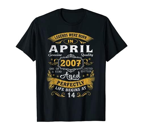 Leyendas nacidas en abril de 2007, regalo de 14 años de edad Camiseta
