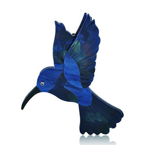 MECHOSEN 美しい レディース ブローチ 鳥 アクリル ピン バッジ コート クリスタル 上品 かわいい アクセサリー 動物 カジュアル 冬 フォーマル ネクタイピン ブルー 子供 メンズ 安全ピン ラベルピン 男女兼用