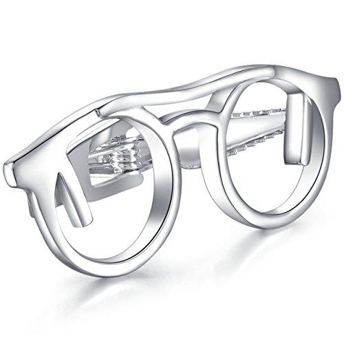 HONEY BEAR Barra de clip de corbata para gafas de sol para hombre, de tamaño normal, de acero inoxidable, forma de gafas de ojos, para regalo de boda de negocios, 4,8 cm, color plateado