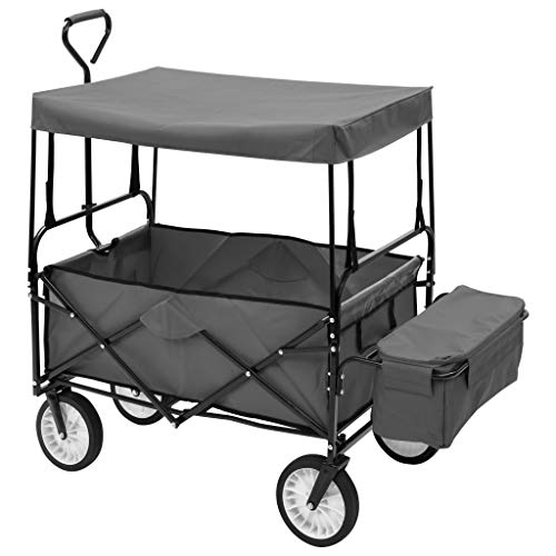 Foldable Pull Along Wagon with Canopy Steel Frame Extra Pocket 360° Rotatable Front Wheels - Max Load 75 KG - 116 x 54 x 119 cm - Grey