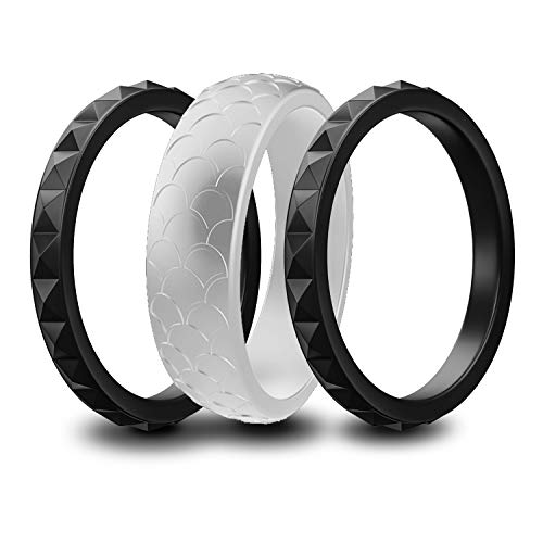 Moonthia Silicone Wedding Ring for Women, Soft Thin Silicone Rubber Band, Scaly and Stackable...