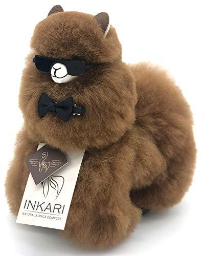 Inkari Alpaka Kuscheltier aus superweicher Alpakawolle, fair und nachhaltig produziert, großes Stofftier, hypoallergen (S (23cm), Walnut braun)
