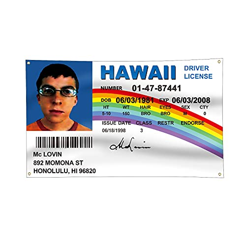 McLovin ID Flag Fake Driver License Flag 3x5 Feet Banner With 4 Brass Buttonholes 3x5 Ft,Used For University Dormitory, Outdoor, Queuing flags