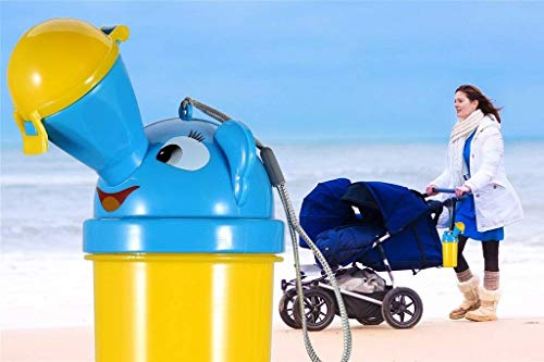 [2019 Upgrade] BYETOO Portable Baby Child Kids Travel Potty Hygienic Leak Proof Urinal Emergency Toilet for Camping,Car Travel,Outside,Park and Kid Toddler Potty Pee Training,Cute Duck Design - boy