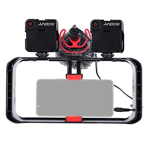 Andoer Smartphone Video Rig, Cassa per Cinematografia, Stabilizzatore per Smartphone Video, Treppiedi e Impugnatura per video Vlog Streaming live con Luci Video