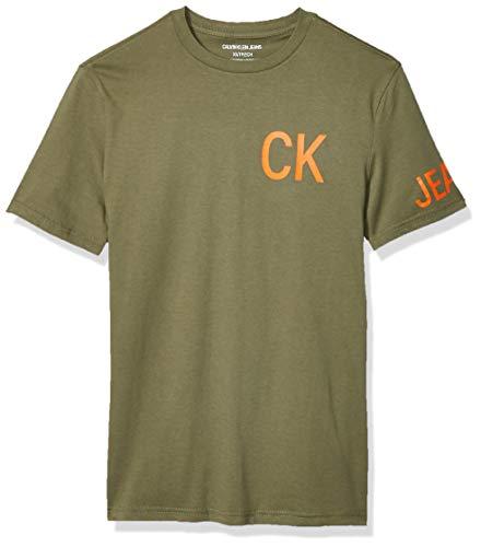 Calvin Klein Men's Brand Traveling Logo T-Shirt, Dusty Olive, Medium