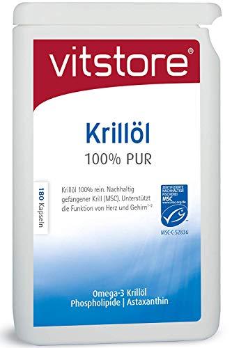 Krillöl 500 mg 180 Kapseln | Premium Superba Qualität Krill Öl 100% Reines | Hochdosiert Antarktis Krillöl mit MSC-zertifizierte | Omega 3 Fettsäuren, Astaxanthin, Phospholipide | Reich an EPA und DHA