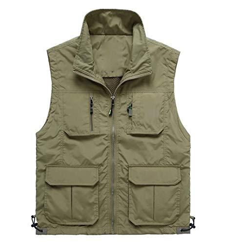 QKDSA heren katoenen gilets vest, outdoor multi-tassen mouwloos bovenstuk, vissen wandelen Medium kaki
